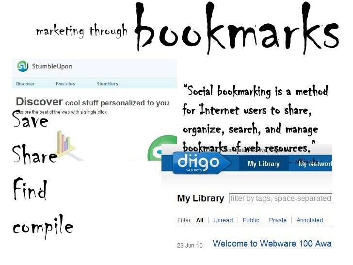 """bookmarks<br />marketing through<br />""""Social bookmarking is a method for Internet users to share, organize, search, and m..."""