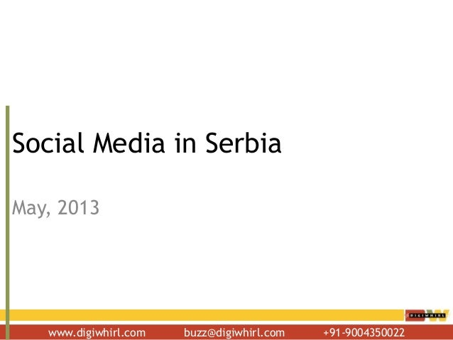 www.digiwhirl.com buzz@digiwhirl.com +91-9004350022 Social Media in Serbia May, 2013