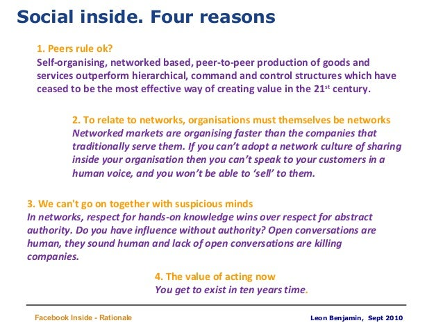 Leon Benjamin, Sept 2010 Title Facebook Inside - Rationale Social inside. Four reasons 2. To relate to networks, organisat...