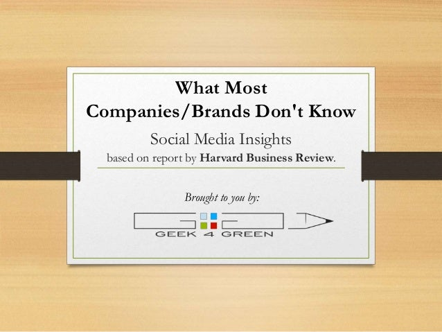 Social Media Insights based on report by Harvard Business Review. What Most Companies/Brands Don't Know Brought to you by: