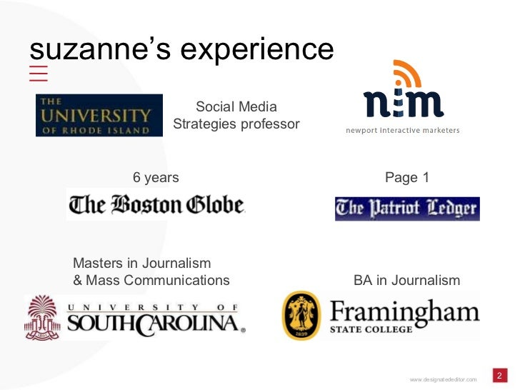 Social Media Internships: What's on the other side of the digital-generational divide by Suzanne McDonald of Designated Editor and University of Rhode Island Slide 2