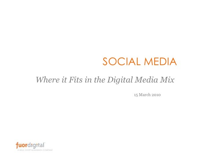 SOCIAL MEDIA<br />Where it Fits in the Digital Media Mix<br />15 March 2010<br />