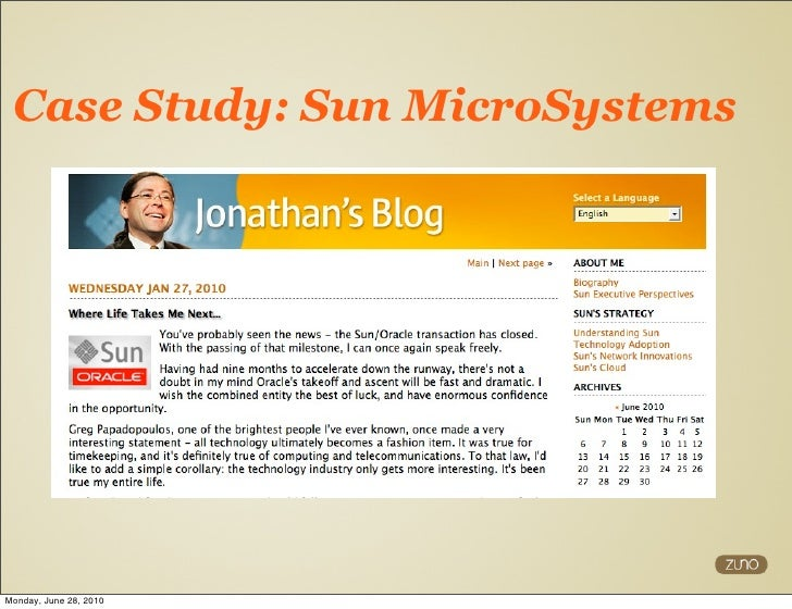 sun microsystems case 2010 sun micro smart 2020 report: global ict solution case studies sun microsystems' employee open work telecommuting program key facts for over 14 years, sun has had an employee telecommuting policy that allows 19,000 employees worldwide (56% of their workforce) to work away from the office at least one day per.