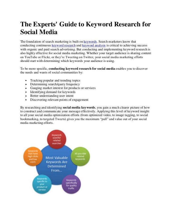 The Experts Guide to Keyword Research forSocial MediaThe foundation of search marketing is built on keywords. Search marke...