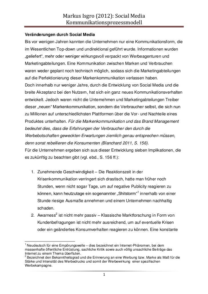 Markus Isgro (2012): Social Media                        KommunikationsprozessmodellVeränderungen durch Social MediaBis vo...