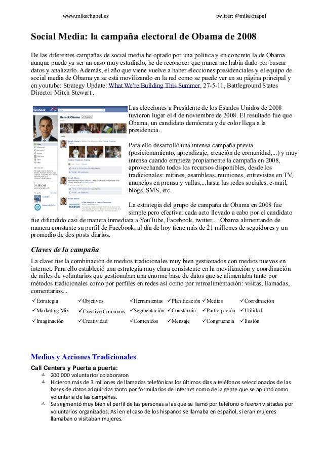 www.mikechapel.es                                           twitter: @mikechapelSocial Media: la campaña electoral de Obam...