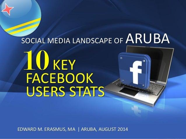 1 EDWARD M. ERASMUS, MA | ARUBA, AUGUST 2014 10KEY FACEBOOK USERS STATS SOCIAL MEDIA LANDSCAPE OF ARUBA