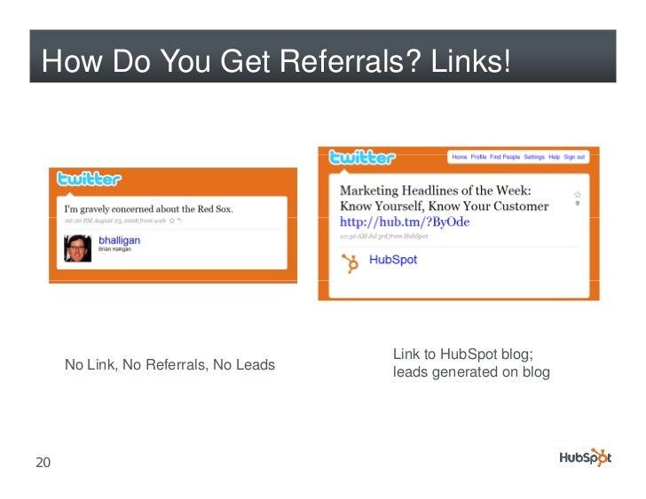 How Do You Get Referrals? Links!                                            Link to HubSpot blog;      No Link, No Referra...