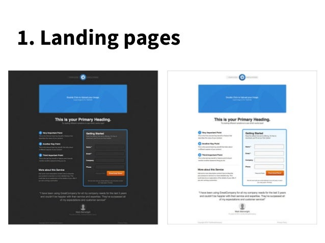 1. Landing pages