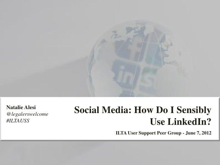 Natalie Alesi@legalerswelcome                   Social Media: How Do I Sensibly#ILTAUSS                           Use Link...