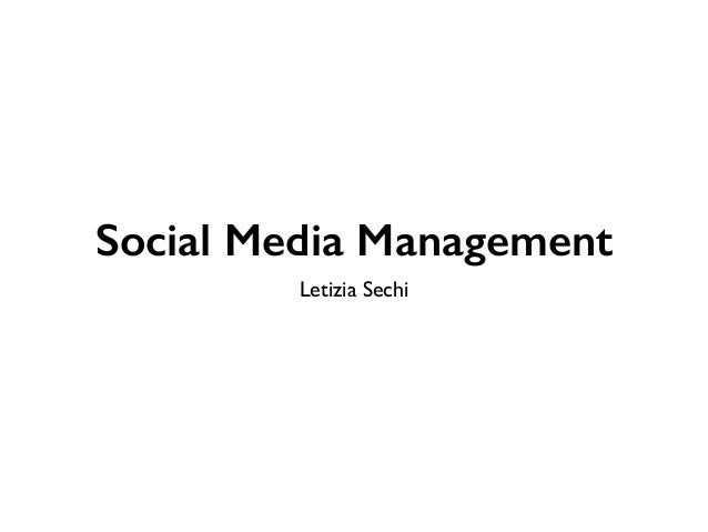 Social Media Management  Letizia Sechi