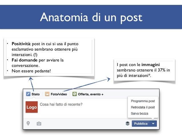 Anatomia di un post Specifica un pubblico per il tuo post, se necessario: per esempio, segnala un evento in base all'area g...