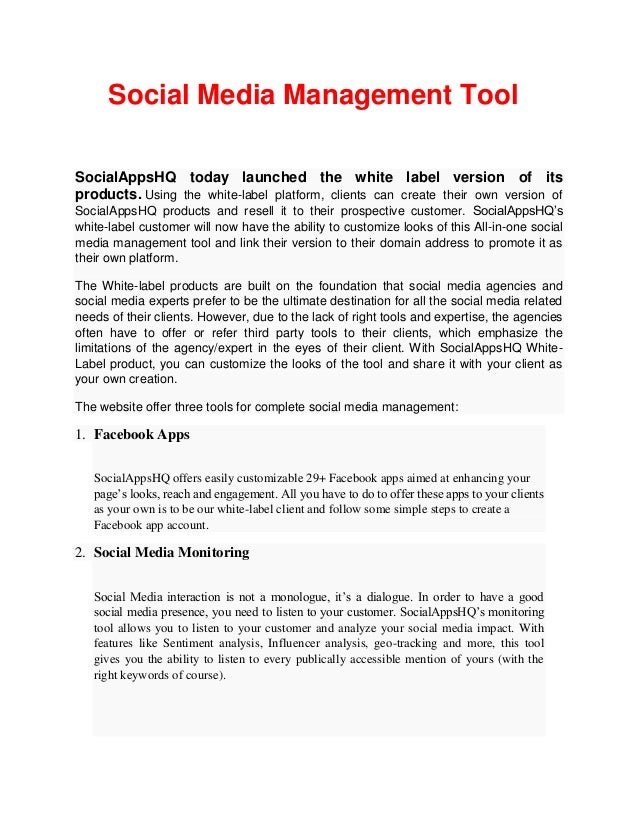Social Media Management Tool SocialAppsHQ today launched the white label version of its products. Using the white-label pl...