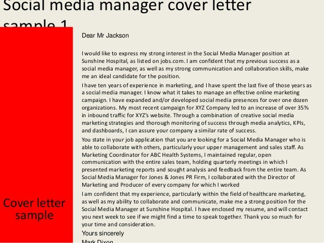 social media manager cover letters