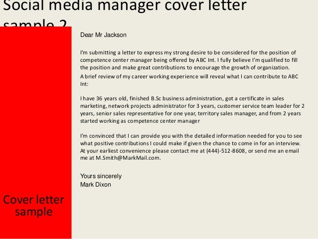Perfect Yours Sincerely; 3. Social Media Manager Cover Letter ...