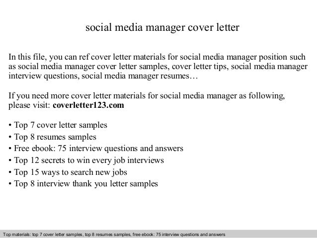 Social Media Manager Cover Letter In This File You Can Ref Materials For