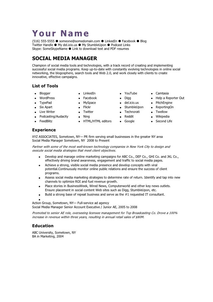 Attractive Social Media Manager CV Template. Your Name(516) 555 5555   Someone@somedomain.com  LinkedIn For Social Media Resume Template