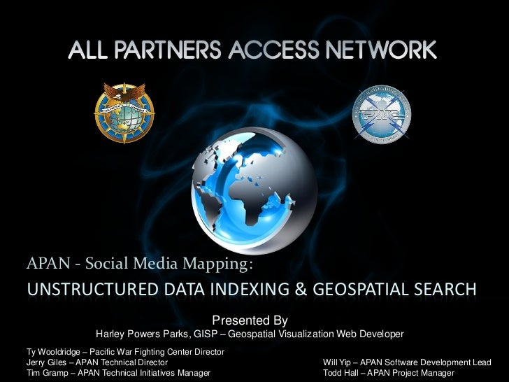 APAN - Social Media Mapping:UNSTRUCTURED DATA INDEXING & GEOSPATIAL SEARCH                                                ...