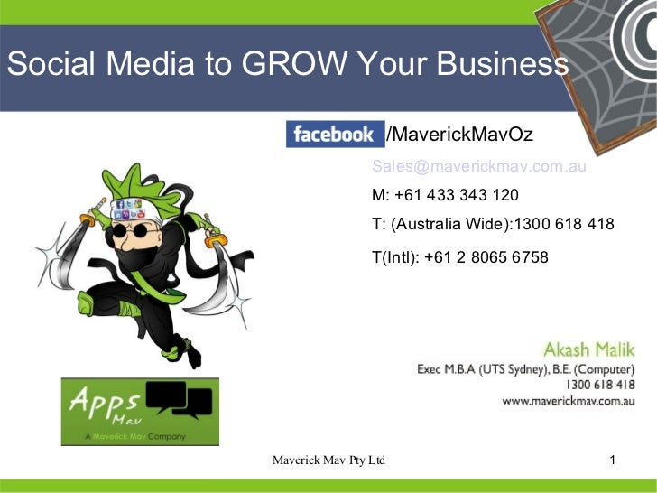 Social Media to GROW Your Business                                       /MaverickMavOz                                 Sa...