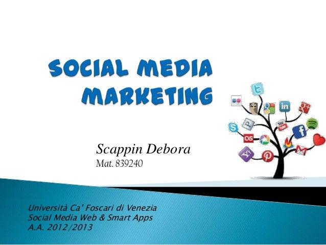 Scappin DeboraMat. 839240Università Ca' Foscari di VeneziaSocial Media Web & Smart AppsA.A. 2012/2013