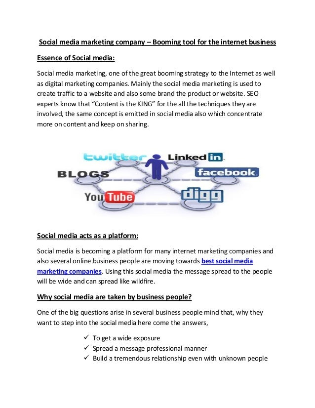 Social media marketing company – Booming tool for the internet business Essence of Social media: Social media marketing, o...