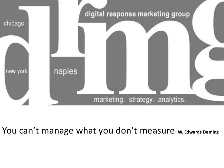 You can't manage what you don't measure- W. Edwards Deming
