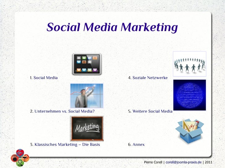 Social Media Marketing1. Social Media                        4. Soziale Netzwerke2. Unternehmen vs. Social Media?       5....