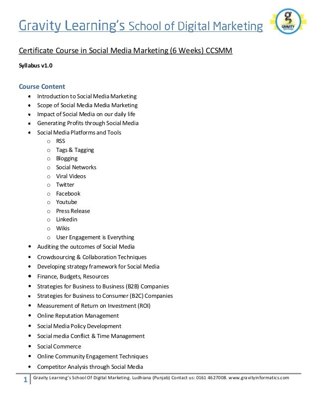 Social Media Marketing Course Syllabus Ccsmm