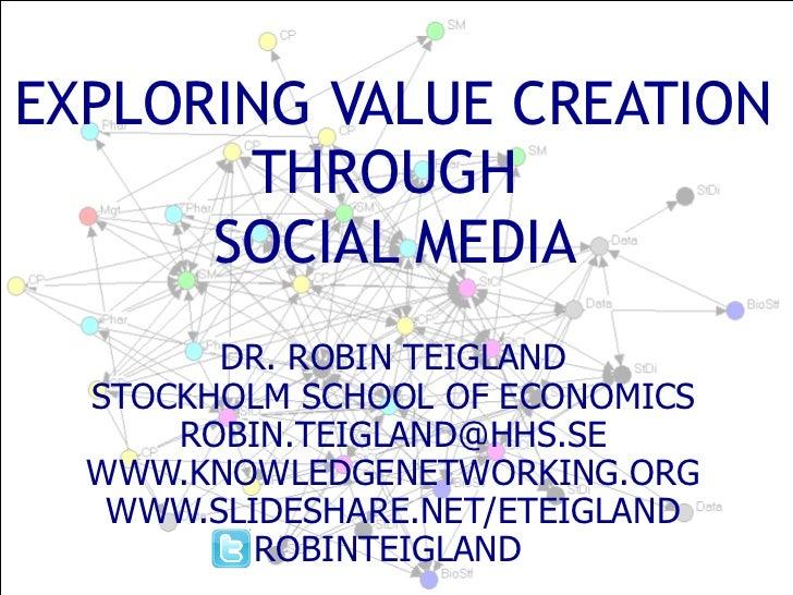 EXPLORING VALUE CREATION THROUGH   SOCIAL MEDIA  DR. ROBIN TEIGLAND STOCKHOLM SCHOOL OF ECONOMICS [email_address] WWW.KNOW...