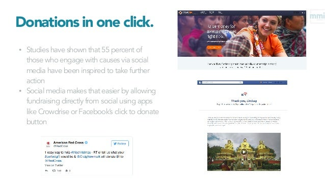 Donations in one click. • Studies have shown that 55 percent of those who engage with causes via social media have been in...