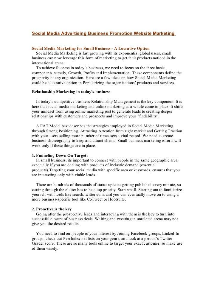 Social Media Advertising Business Promotion Website MarketingSocial Media Marketing for Small Business - A Lucrative Optio...