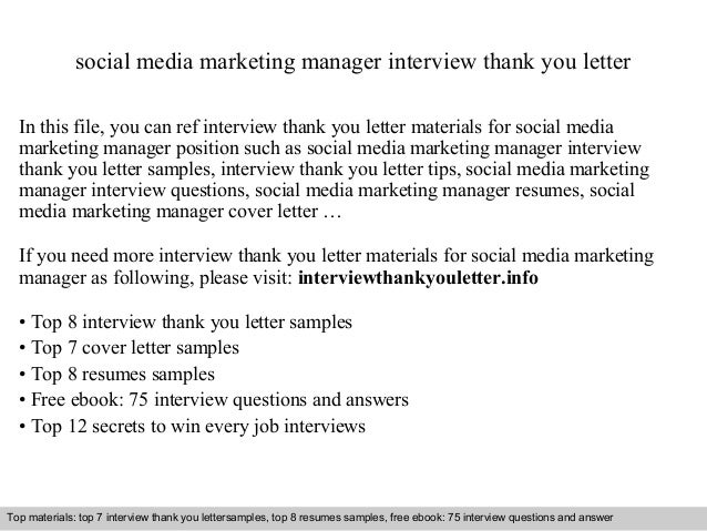 social media marketing manager interview thank you letter in this file you can ref interview - Marketing Manager Interview Questions And Answers