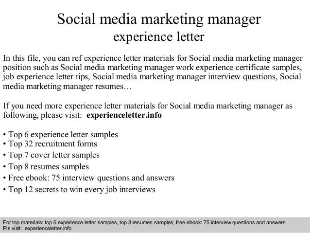 Social Media Marketing Manager Experience Letter