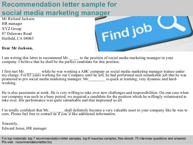 Social media marketing manager recommendation letter – Social Media Manager Job Description