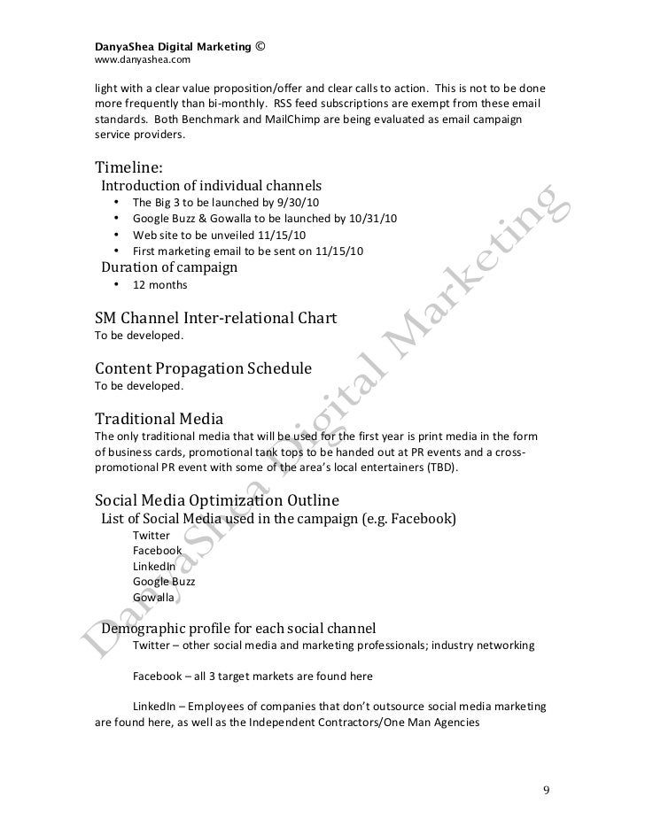 Social Media Marketing Plan SAMPLE - Social media marketing business plan template