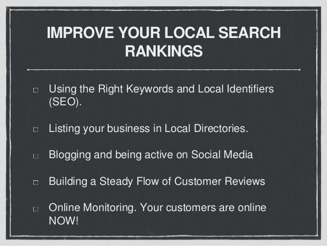 LOCAL DIRECTORIES GOOGLE - https://www.google.com/business CANADA 411 - 411.ca YELLOW PAGES- businesscentre.yp.ca/local/di...