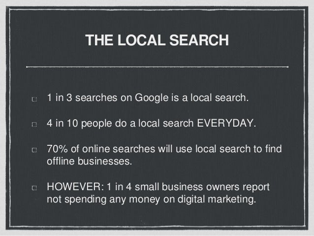 THE LOCAL SEARCH The first place consumers go for online information is a SEARCH ENGINE (Google, Yahoo, Bing)
