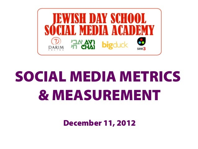 SOCIAL MEDIA METRICS  & MEASUREMENT     December 11, 2012