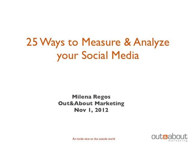 25 Ways to Measure & Analyze     your Social Media          Milena Regos      Out&About Marketing          Nov 1, 2012    ...