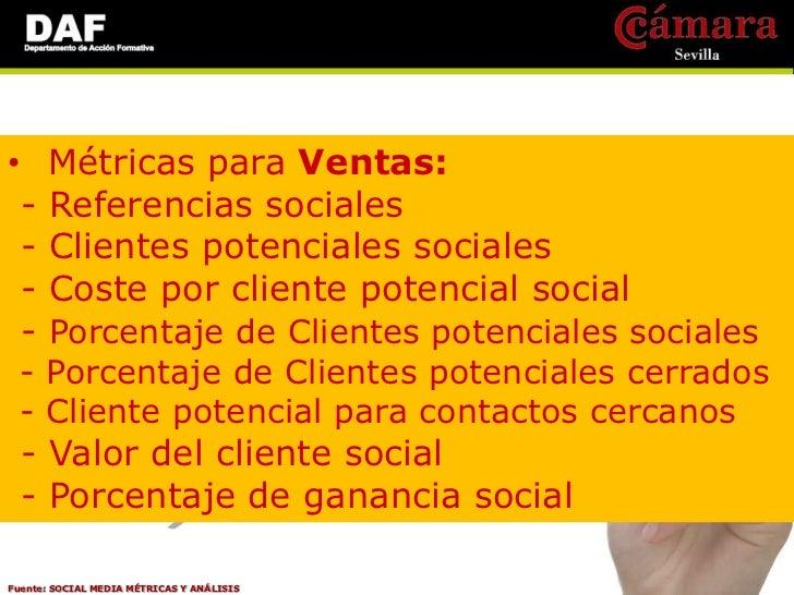 •     Métricas para CRM: -    Clientes de porcentaje social -    Canales más eficaces -    Tasa de respuesta campañas de C...
