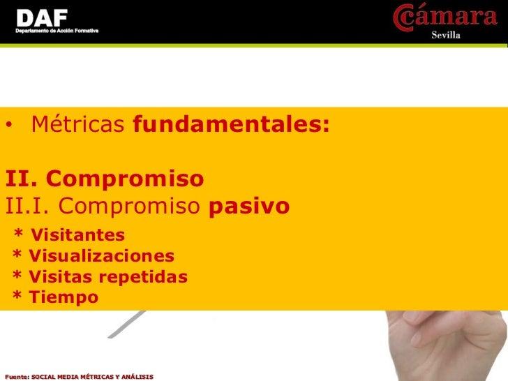 • Métricas fundamentales:III. Influencia  Volumen de contenido relevante x Comentarios x        Comparticiones x Alcance= ...
