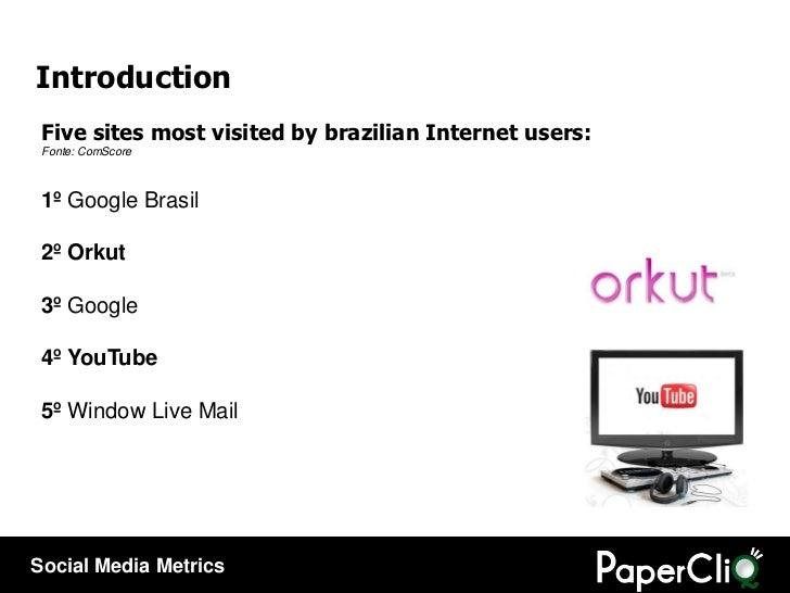 Five sites most visited by brazilian Internet users : Fonte: ComScore 1º Google Brasil 2ºOrkut  3º Google 4ºYouTube...