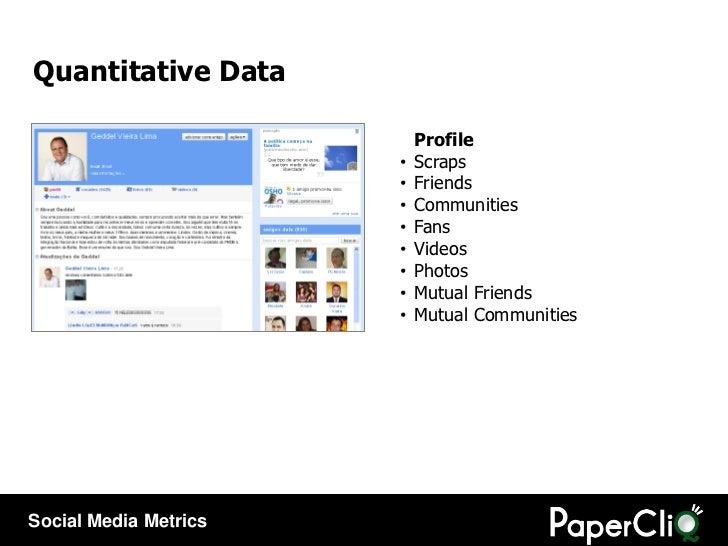Quantitative Data <ul><li>Profile </li></ul><ul><li>Scraps </li></ul><ul><li>Friends </li></ul><ul><li>Communities </li></...