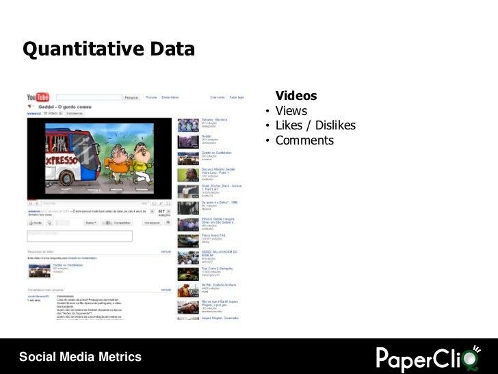 <ul><li>Videos </li></ul><ul><li>Views </li></ul><ul><li>Likes / Dislikes </li></ul><ul><li>Comments </li></ul>Quantitativ...