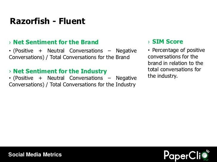 <ul><li>Net Sentiment for the Brand </li></ul><ul><li>(Positive + Neutral Conversations – Negative Conversations) / Total ...
