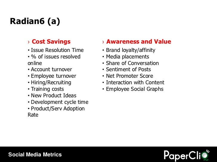 <ul><li>Awareness and Value </li></ul><ul><li>Brand loyalty/affinity </li></ul><ul><li>Media placements </li></ul><ul><li>...