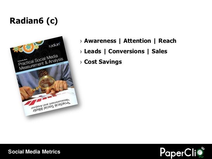 Radian6 (c) <ul><li>Awareness   Attention   Reach </li></ul><ul><li>Leads   Conversions   Sales </li></ul><ul><li>Cost Sav...