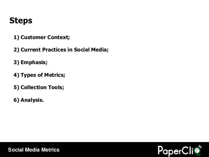 1) Customer Context; 2) Current Practices in Social Media; 3) Emphasis; 4) Types of Metrics; 5) Collection Tools; 6) Analy...