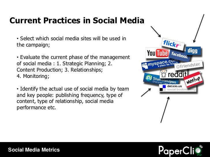 Current Practices in Social Media <ul><li>S elect which social media sites will be used in the campaign ; </li></ul><ul><l...