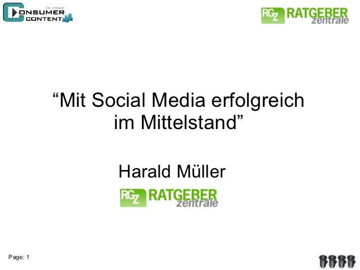 """"""" Mit Social Media erfolgreich im Mittelstand"""" Harald Müller"""